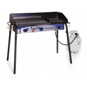 Camp Chef Expedition 3X Triple Buner Stove W/Griddle, Detachable Legs, Windscreen Sg60, White/Blue/Black