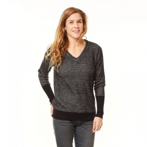 Carve Designs Maxwell V-Neck Sweater - Women's-Black/Stone-Large